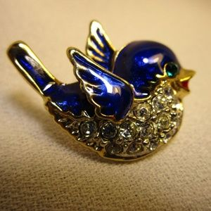 Cute Tiny Enamel and Crystal Bluebird Pin